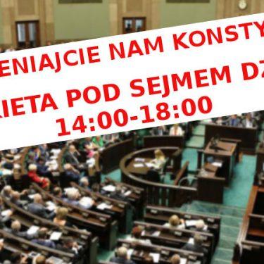 Pikieta KOD przed Sejmem 10.02.2016