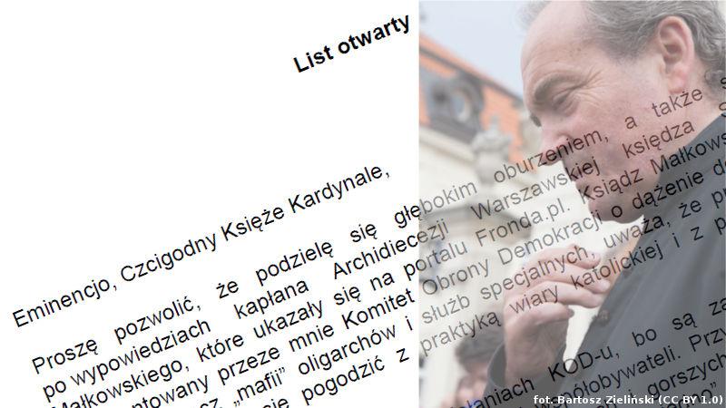 List otwarty Mateusza Kijowskiego do abp. Kazimierza Kardynała Nycza w sprawie wypowiedzi ks. Stanisława Małkowskiego