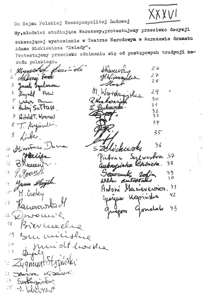 List otwarty do Sejmu PRL z 1968 roku