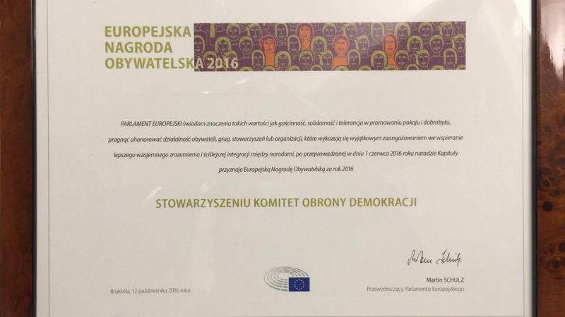 KOD z Europejską Nagrodą Obywatelską